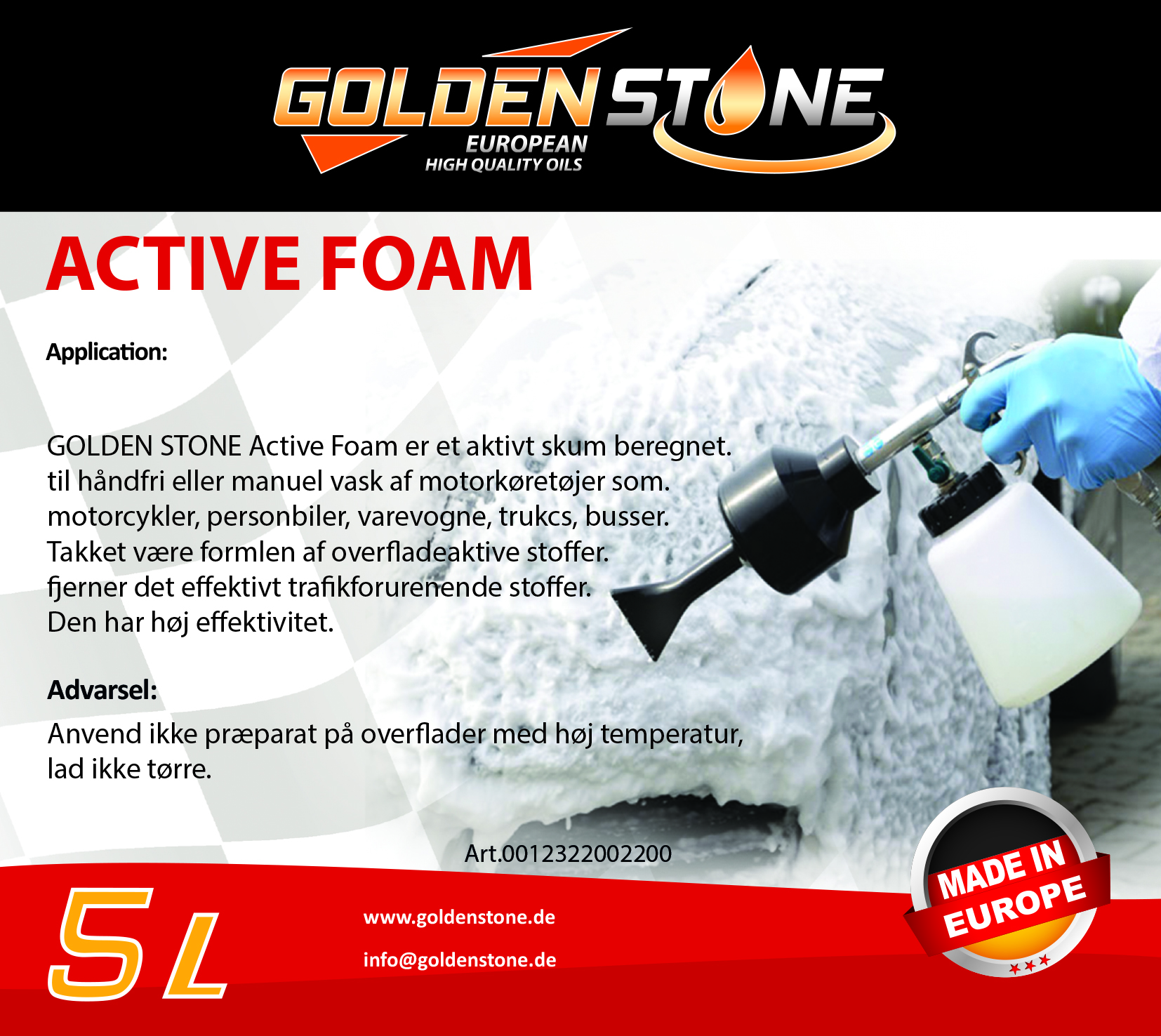 Goldenstone autoshampoo til skumlanse - Snow Foam Shampoo 5l.